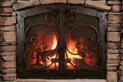 Ironhaus Arched Cabinet Door Distressed Black Copper - Mediterranean Design With Grande Handles