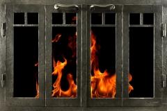 Ironhaus Rectangular BiFold Door Peened Finish - Sutter Design With Cottage Handles
