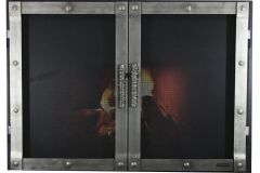 Ironhaus Luxe Rectangular Cabinet Door - Industrial Iron Design With Woven Handles