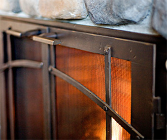 custom iron fireplace doors