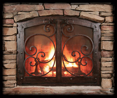Custom Arched Cabinet Fireplace Doors with Mediterranean Design