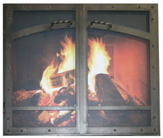 Fireplace screen with doors heritage HL AT&RB center trim european-Ironhaus