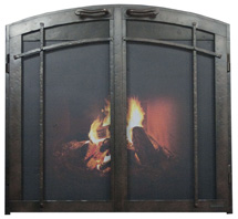 Fireplace screen with doors lifestyle true arch con 3 sided craftsman Ironhaus