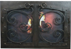 Fireplace screen with doors -old world arc con med-Ironhaus