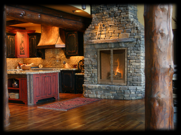 gas fireplace with range hood