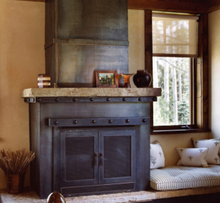 Metal Iron custom fireplace surround