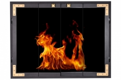 Cast Strong in Black frame, Matte Brass Corner Brackets & Knobs, bifold doors