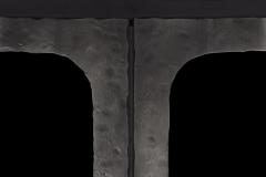 Closeup of Hammered Dark Bronze T-Bar handles