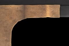 Closeup of Hammered Matte Brass T-Bar Handles