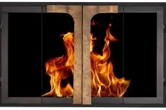 Maxfield in Black frame, Hammered Matte Brass T-Bar handles & bifold doors