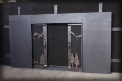 Pocket Door Mountain Design Half Open
